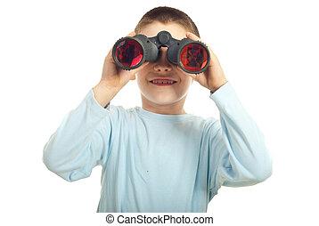 Happy boy with binocular