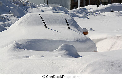 Snowed In - Car buried in three feet of snow.