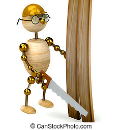 3d wood man with a saw