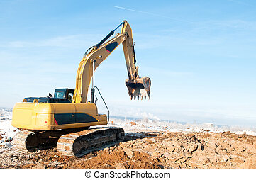 excavator loader at winter works - Heavy excavator loader at...