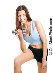 Fitness woman exercising with dumpbells - Fitness woman...