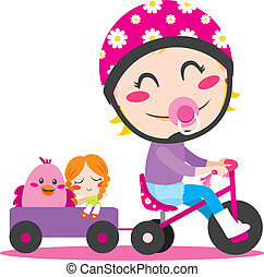 Tricycle Trailer - Sweet little girl driving a tricycle with...