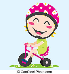 Girl Tricycle - Sweet little girl driving a tricycle with...