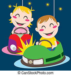 Bumper Cars - Boy and girl driving bumper cars having fun...