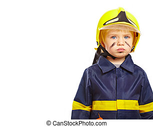 Nice little boy in fireman costume - Serious little boy in...