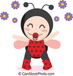 Baby Ladybug - Cute sweet baby girl wearing ladybug costume