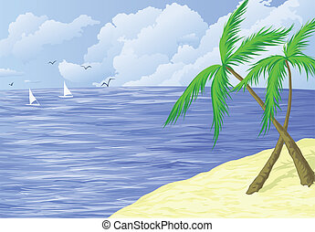 tropical beach with two palms - background illustration of...