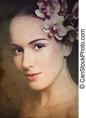 Vintage beauty - Duotone colored portrait of young beautiful...