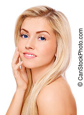 Skin care - Portrait of young beautiful fresh healthy...