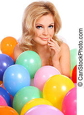 Blond girl with balloons