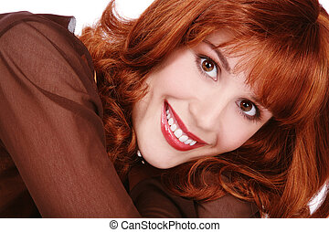 Smiling redhead - Portrait of young attractive happy smiling...