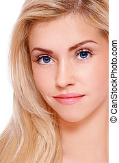 Fresh pretty blonde - Close-up portrait of young beautiful...