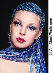 beleza, azul, cabelo