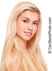 Blond hair - Portrait of young beautiful fresh healthy...