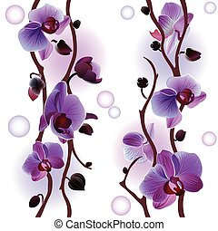 Seamless background with orchids - Vector seamless...