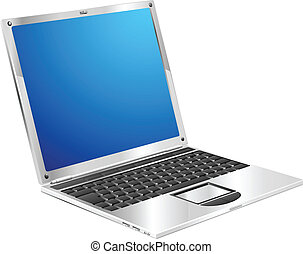 Shiny stylish metallic laptop diagonal view - A stylish...