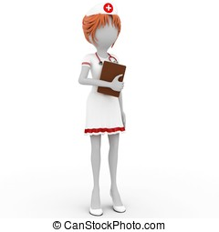 3d girl doctor with notepad