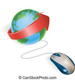 Mouse and arrow globe - Concept A mouse connected to a world...