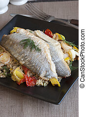 Seabass - Grilled seabass with couscous, vegetables and dill...