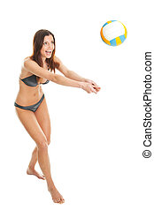 Volleyball player woman in swimwear. Isolated on white