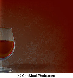 abstract illustration with wineglass on grunge background