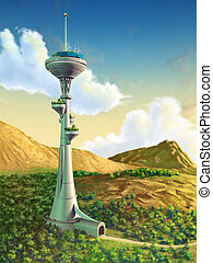 Futuristic tower in a gorgeous landscape. Digital...
