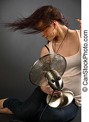 girl with fan studio portrait