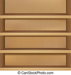 Wooden Empty Bookshelf, Vector Illustration