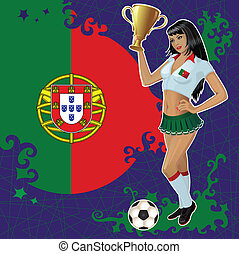 Portugal soccer poster with girl - Vector soccer poster with...