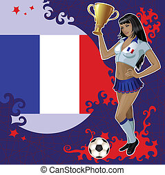 French football poster with girl - Vector football poster...