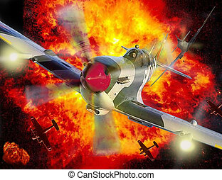 Spitfire flying through an explosion