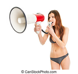 Beautiful girl in bikini shouting into megaphone