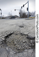 Pothole in road after spring thaw