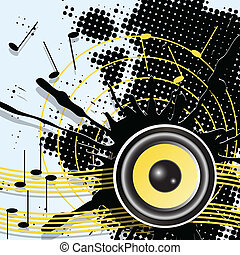 music - illustration, abstract black background to music...