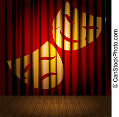theatres stage - against the background of red curtain -...
