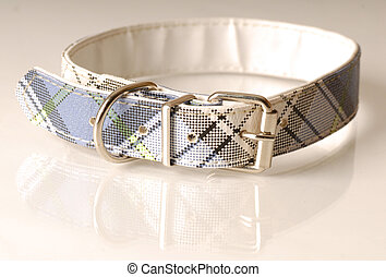 blue green and black plaid dog collar
