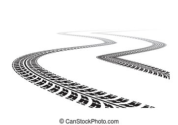 tire tracks in perspective view Vector illustration isolated...