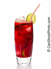 Hibiscus Iced Tea - A glass of iced hibiscus tea with slices...