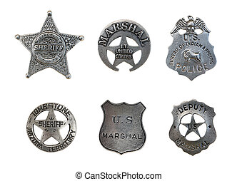 Assorted Police and Sheriff Badges - Vintage old sheriff,...