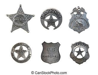 sortido, polícia, xerife, emblemas