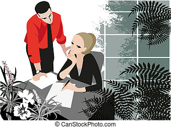 Green office - Two managers are discussing the issue in a...