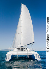 Catamaran - Luxury white catamaran boat in the ocean with...