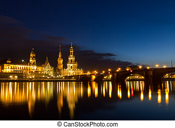 Elbe river with Catholic Church of the Royal Court of Saxony...