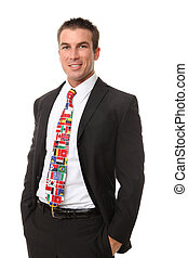 Handsome Man with Flag Tie