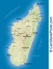 Map of Madagascar showing the main cities and places