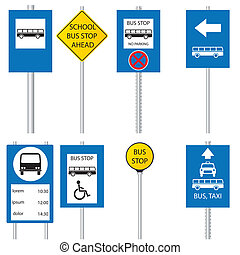 Various bus stop signs - Bus stop signs and symbols
