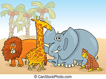 african animals - group of african animals illustration