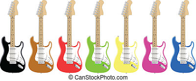 colorful guitars - seven different colored electric guitars...