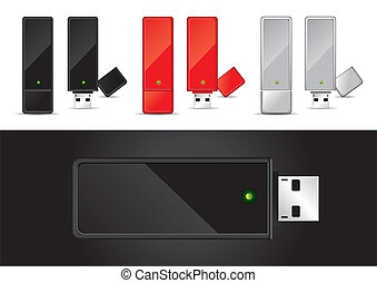 USB Disk in Black, Red and Silver