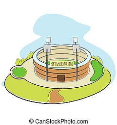 Sport Stadium - illustration of sport stadium on abstract...